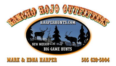 Rancho Rojo Hunting Guides and Outfitters New Mexico Custom Business Card